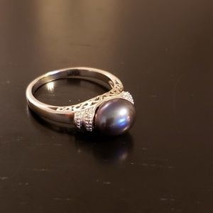 💕Grey Pearl Sterling Silver Ring